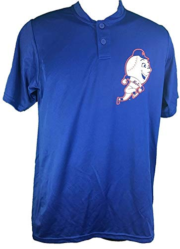 Majestic New York Mets Cooperstown Collection Two Button Dri Fit Jersey T-Shirt (Small)