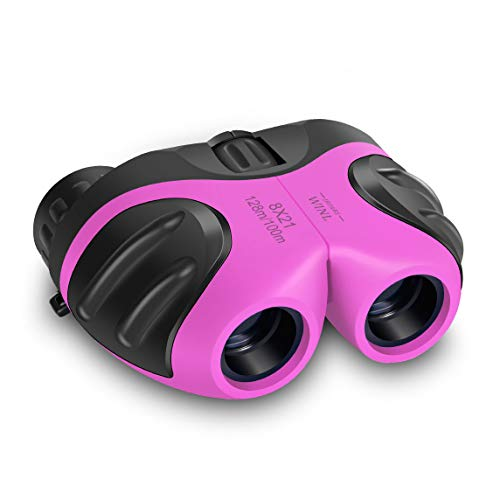 Happy Gift Binoculars for Children Toys,Small Binoculars for 4-9 Year Girls Outdoor Toys,Festival Gifts for 5-12 Year Old Girls Boys to Theater or Opera(Pink)