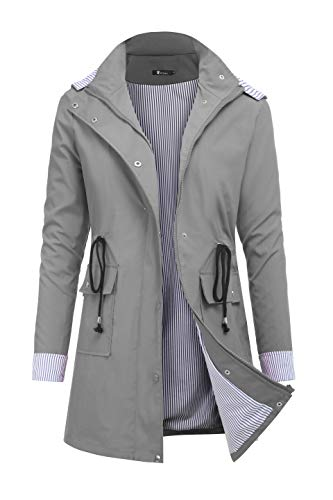 RAGEMALL Women's Raincoats Windbreaker Rain Jacket Waterproof Lightweight Outdoor Hooded Trench Coats Grey - Coat Hooded Sleeve