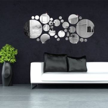 Etonnant 30pcs 3D Circle Mirror Wall Stickers Acrylic Vinyl Decal Home Art Decor