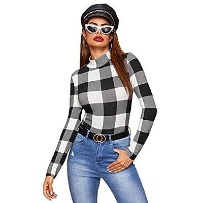 SweatyRocks Women's Leopard Print Long Sleeve Turtleneck T-Shirt Basic Blouse Tee Top at Women's Clothing store