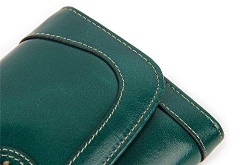 Acmede Cartes monnaie Avec Portefeuille Universel Bourse Véritable Pour Classique Fentes Vert En Capacité Femme Cuir Lac Longue Vert 7 Smartphone Pouces Porte 16 De lac cartes Porte 6 Zippé Grande RRSqwTr