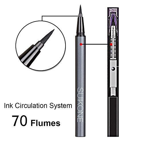 Eyeliner, Waterproof Liquid EyeLiner, Blackest Black, High-tech Ink Circulation System by HeyBeauty