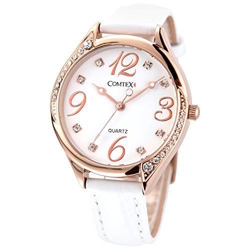 (COMTEX Women Watches for Women Ananog Quartz White/Red Leather With Crystals Wristwatch Gifts (White+Gold))