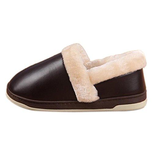 Fasion NEU Maenner Frauen weiche warme Hausschuhe Cotton House Startseite Rutschfeste Schuhe Braun