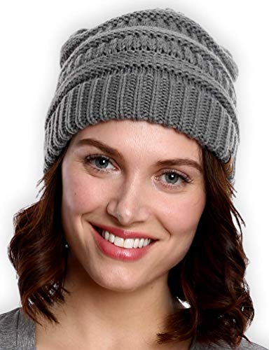 Happy Cap Face (Tough Headwear Cable Knit Beanie - Thick, Soft & Warm Chunky Beanie Hats for Women & Men - Serious Beanies for Serious Style)