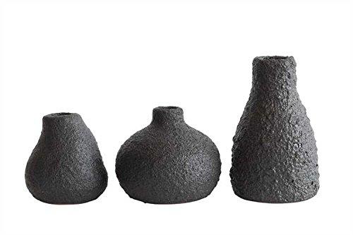 Matte Black Finish Round Stoneware Vases - 2 Sets of 3