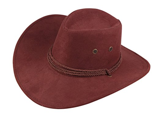 UwantC Mens Faux Felt Western Cowboy Hat Fedora Outdoor Wide Brim Hat with Strap Red Brown