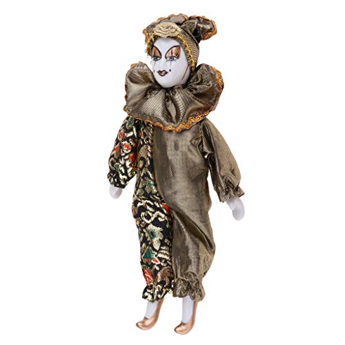 Gold Happy 22cm Funny Clown Man Wearing High-Grade Shiny Silk Brocade Clothes Figure Doll Toy Halloween Party Decoration