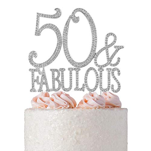 50&Fabulous Rhinestone Birthday Cake Topper | 50th Party Decoration Ideas | Premium Sparkly Crystal Diamond Gems | Quality Metal Alloy (50&Fab Silver)