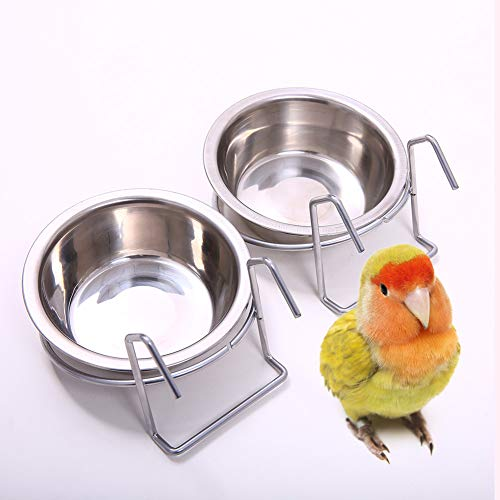 QBLEEV Birdcage Bird Feeder Birds Food Dish Parrot Feeders Water Bowls Stainless Steel Dishes Coop Cups with Wire Hook for Small Animals Finches Parakeet[2 Pack]