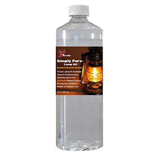 - Firefly Citronella Scented Lamp Oil - 32 oz - Odorless Base & Smokeless- Ultra Clean Burning Paraffin Oil with Citronella Oil