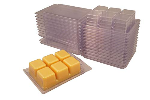 New and Improved! Packed Loose, Easy to Reopen, Coo Candles 6 Cavity Clamshell Molds for Wickless Wax Melt Candles (50)