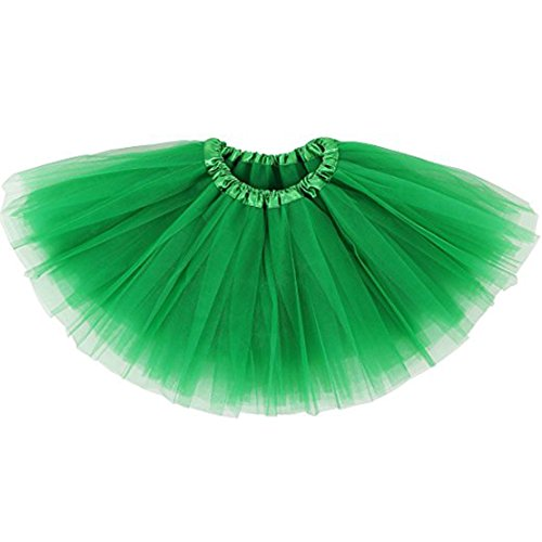 Toddler Little Girl Tulle Tutu Skirt 3-Layered Classic for Ballet Dance Costume Dress up, Green Tutu]()