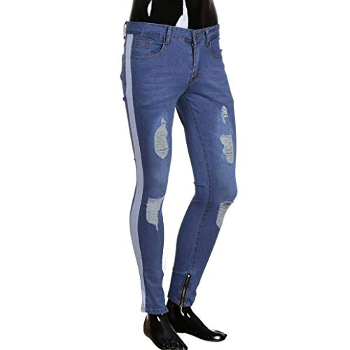 Deim Men's Bianca Uomo R Casual Libero Denim Nener Jeans Biker Giovane Sfilacciato Pants Pantaloni Torn Stretch Tempo Fit Fashion Distressed Slim Zipper 4R1xqtF5tw