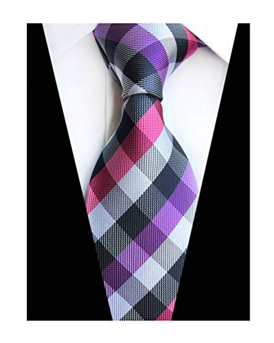 Men Checks Navy Purple White Jacquard Woven Silk Tie Rose Colorful Youth Necktie
