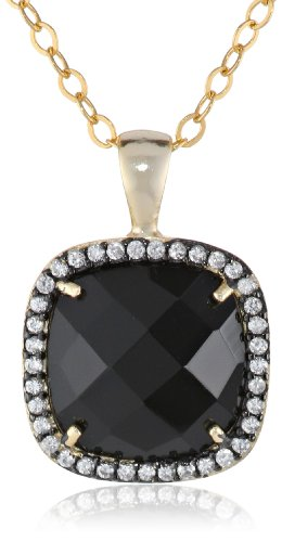Gold-Plated Sterling Silver Faceted Black Onyx and Cubic Zirconia Pendant Necklace, - Onyx Faceted Pendant