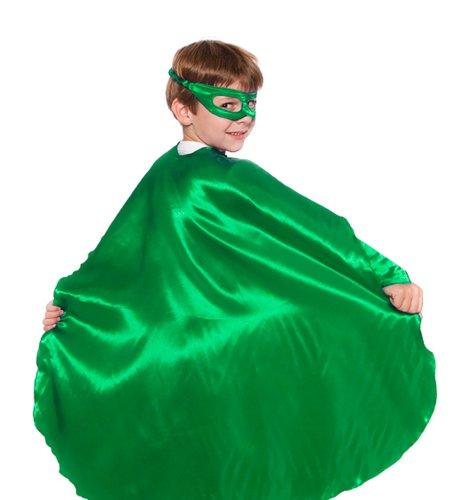 Green Polyester Satin Superhero Cape