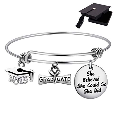 Class of 2019 Graduation Gift Graduation Cap Bangle Bracelet Compass Expandable Bracelet Inspirational Jewelry for Women She Believed She Could So She -