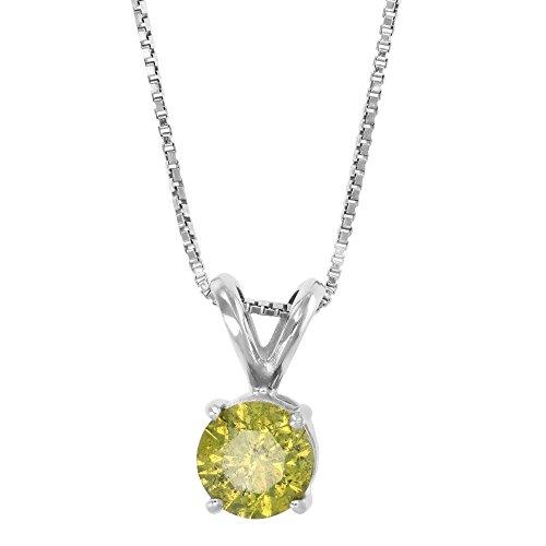 1 CT Yellow Diamond Solitaire Pendant 14K White Gold