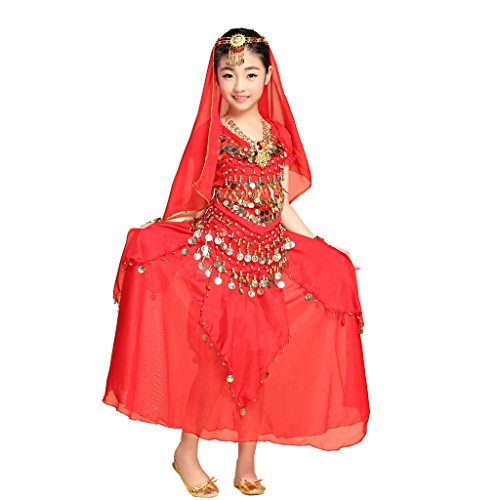 Pilot-trade Children Belly Dance Costume ,3 Gold coins Skirt ,Hip Scarf Sets Red (Pregnant Girl Costumes)