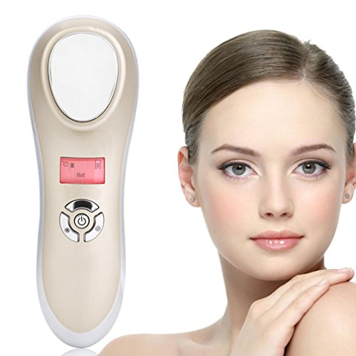 Hot Cold Hammer Massage Skin Tighten Device, USB Charging SPA Anti-wrinkle Beauty Instrument (Golden)