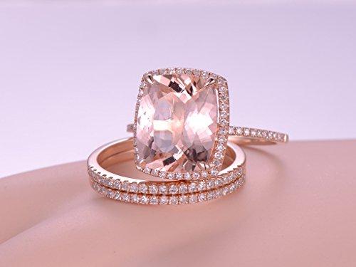 3pcs Morganite Wedding Ring Set,10x12mm Cushion Cut Pink Stone 14k Rose Gold Halo Matching Diamond Band