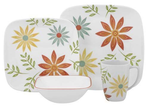 Corelle Square 16-Piece Dinnerware Set, Happy Days, Service for 4
