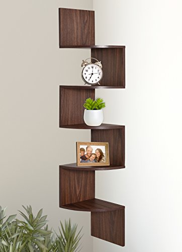 (Greenco 5 Tier Wall Mount Corner Shelves Walnut Finish)