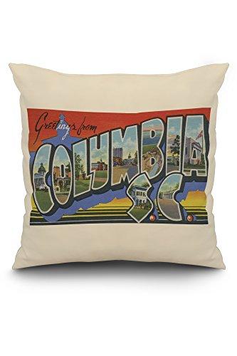 (Columbia, South Carolina - Large Letter Scenes (20x20 Spun Polyester Pillow, White Border))