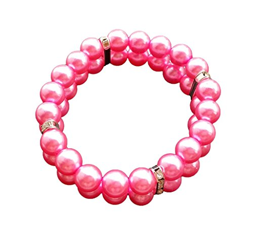 (PET SHOW Fashion Two Rows Rhinestone Faux Pearl Elastic Pet Cat Puppy Small Dog Necklace Collar Jewelry Grooming Accessories Pink Size M Pack of 1)