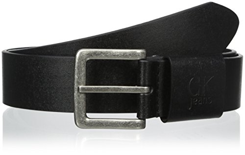 Calvin Klein Women's Leather Belt with Brass Buckle, Black, Small Calvin Klein Embossed Belt