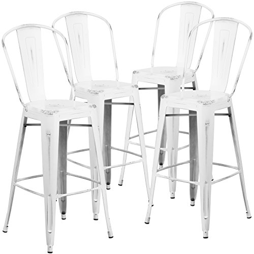 Flash Furniture 4 Pk. 30'' High Distressed White Metal