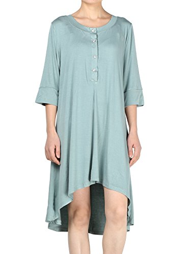 Elbow Sleeve Thermal - Mordenmiss Women's New Half Sleeve High Low Loose Tunic Tops Grey Green-S