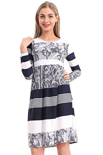Swing Frankie SWING Dress Ladies Smoke Long Sleeve Dress Party Womens NAVY Flared ABSTRACT Printed DRESS 21FASHION xqHwa7Xy