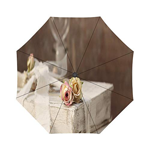 Old Books Shabby Chic Pattern Windproof Compact One Hand Auto Open and Close Folding Umbrella, Compact Travel Umbrella Folding Rain Outdoor Umbrellas - Table Shabby Folding