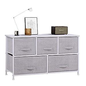 Commode avec 4 Tiroirs, Meuble de Rangement Tissu Tiroirs pour Chambre Salon Salle de Bain, Métal, MDF (Blanc, 100 x 30…