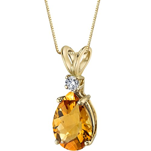 - 14 Karat Yellow Gold Pear Shape 1.50 Carats Citrine Diamond Pendant