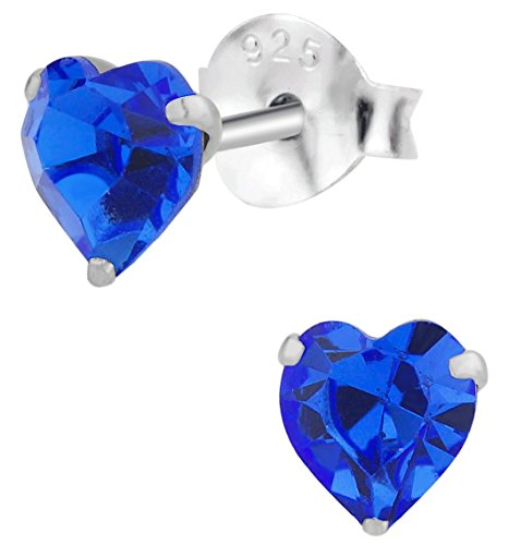 Hypoallergenic Sterling Silver Blue Crystal Heart Stud Earrings for Kids (Nickel Free)