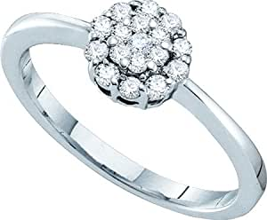 25ctw Round Diamond Flower Engagement Ring | Amazon.com