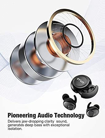 Wireless Earbuds, Otium True Bluetooth in-Ear Headphones Wireless Earphones Has Latest Bluetooth 5.0 Built-in Mic Deep Bass Sound Sweat Proof Designed for Running Gym