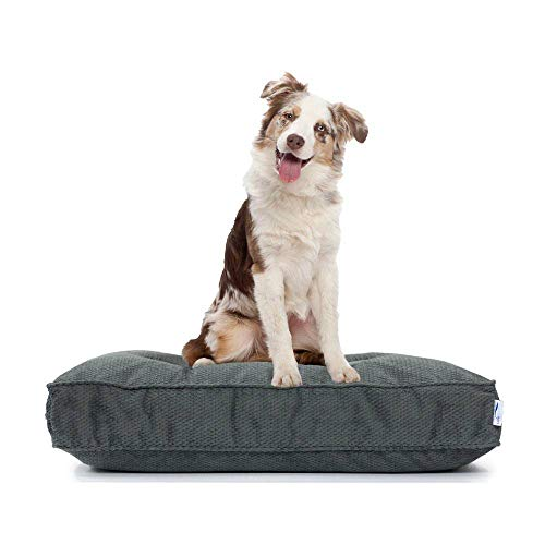 eLuxurySupply Dog Bed - Orthopedic Cluster Fiber Filling Pet Bed for Dogs & Cats - Waterproof Cotton Canvas Cover Featuring LiveSmart Technology - Assembled in The USA - Small Medium & Large Size