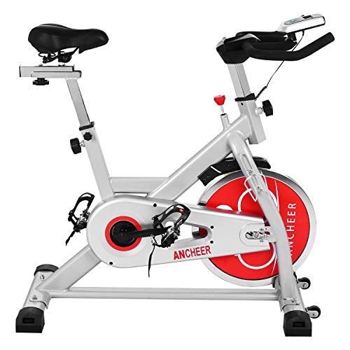 ANCHEER Indoor Cycling Bike, Belt Drive Indoor Exercise Bike with 49LBS Flywheel