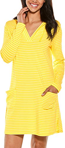 (Coolibar UPF 50+ Women's Beach Cover-Up Dress - Sun Protective (Large- Yellow/White Stripe))