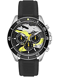 Men's Sport Stainless Steel Quartz Watch with Silicone Strap, Black, 22 (Model: MK8709)