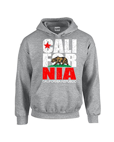 CAMALEN California Republic Most Popular Cali Design Unisex Pullover Hoodie Hooded Sweatshirt(Grey,Medium)