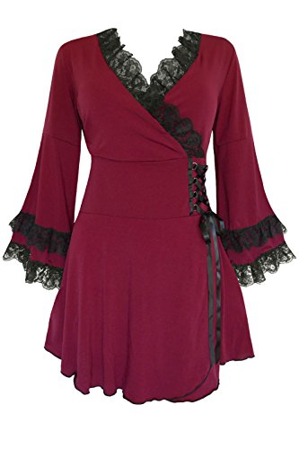 Dare to Wear Gothic Boho Women's Plus Size Victoria Corset Top Burgundy 5x