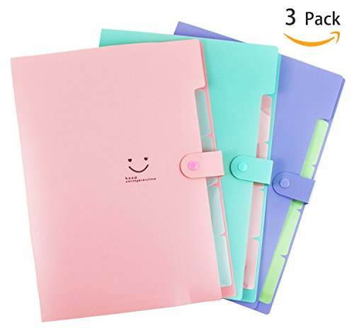 Placstic Expanding File Folders Accordion Document Organizer 5-Pocket A4 Letter Size with Snap Closure for School and ()