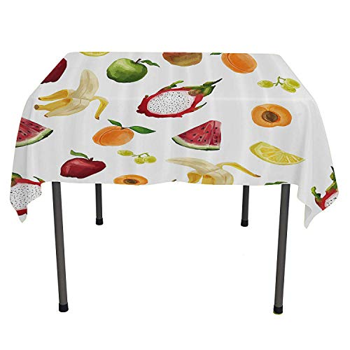 Watercolor Decor, Wrinkle Free Anti-Fading Tablecloths Abstract Fruit Paintbrush Style Watermelon Apple Banana Cute Kids Nursery Theme, Dinning Tabletop Decoration, 60x60 Inch Multi