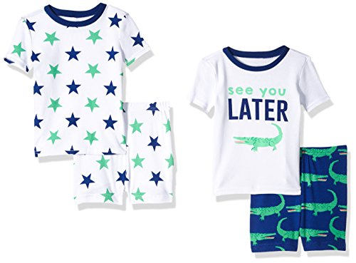 The Children's Place Baby Boys' 4-Piece Pajama Set, Inked 81694 (Pack of 2), -
